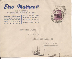 MAZZANTI EZIO, FOLIGNO, BUSTA COMMERCIALE VIAGGIATA  1949, TIMBRO POSTE FOLIGNO, MILANO TARGHETTA MOTTA - Altri Bottiglie