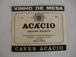 Label Etiquette Rotulo Wine Vin Vinho Maduro Branco Acácio  50 Cl Caves Acácio Portuguese Portugal - Labels