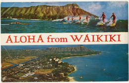 Aloha From Waikiki Surf Surfers Aerial View Used Honolulu 1964 To Prefecture De Tulle Corrèze France - Etats-Unis