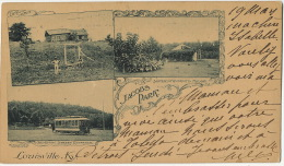 Louisville Kentucky Jacobs Park Private Mailing Card Used 1901 Tram Superintendents House Log Cabin - Louisville
