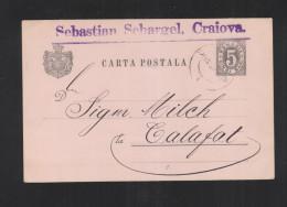 Romania Stationery 1893 Craiova To Calafat - Interi Postali