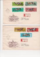 HONGRIE- 2 LETTRES AFFRANCHIES AVEC SERIE SPORT HIPPIQUE N° 1459 A 1465    ANNEE 1961 - Feuillets Souvenir