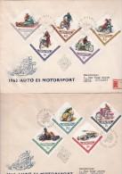 HONGRIE- 2 LETTRES AFFRANCHIES AVEC SERIE SPORTS MOTOS ET AUTOMOBILES N° 1530 A 1538 -ANNEE 1962 - Hungary