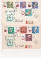 HONGRIE- 2 LETTRES AFFRANCHIES AVEC SERIE JO D'HIVER INNSBRUCK 1963 - N° 1606 A 1613 - Hungary