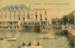 33 ARCACHON - HOTEL RICHELIEU ET VICTORIA A MAREE HAUTE ( CARTE TOILEE ET COLORISEE ) - Arcachon