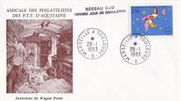 29 Janvier 1993 Marseille à Toulouse - Réseau Sud Dernier Jour De Circulation - Intérieur Wagon Poste Tri Sac Courrier - Trains