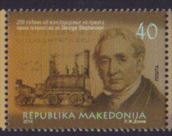MACEDONIA ,2014,MNH, TRAINS,GEORGE STEPHENSON, 1v - Treinen