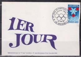 = Prélude Aux Jeux Olympiques D'Hiver à Grenoble Carte 1er Jour 38 Grenoble 22.4.67 N°1520 Flocon, Anneaux Olympiques - Winter 1968: Grenoble