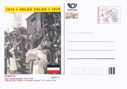 "Czech Rep. / Postal Stat. (Pre2014/30) Great War (WWI) 10 Germany: Felix Schwormstädt ""Supplying Troops In Train Station - Briefe"