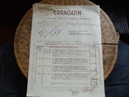 Ancienne Facture Chissay En Touraine Perraguin Vin Blanc - 1900 – 1949