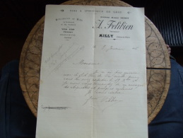 Ancienne Facture Milly 77 Felibien Vin - 1900 – 1949