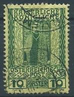 1908-14 AUSTRIA LEVANTE USATO REGNO DI FRANCESCO GIUSEPPE I 10 PI - A106 - Eastern Austria