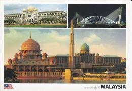 Malaysia 2010 Postcard  Putra Mosque Putrajaya,Seri Saujana Bridge & Perdana Putra Prime Minister's Office Com - Malaysia