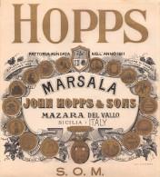 "01910 ""MARSALA - JOHN HOPPS & SONS - MAZZARA DEL VALLO (SICILIA) "" ETIC. ORIG. ANNI ´10 - ORIG LABEL , YEARS´ 10. - Etiquettes"
