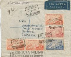 1939 SOBRE CERTIFICADO DE STA. CRUZ DE TENERIFE DIRIGIDO A BARCELONA, ARRIBA ESPAÑA EN AZUL, VIÑETAS CANARIAS,CENSURA - 1931-50 Cartas
