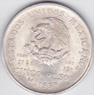 MEXIQUE . 5 PESOS 1953 . HIDALGO .ARGENT - Mexique
