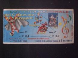 BIGLIETTO LOTTERIA NAZIONALE ITALIA FESTIVAL DELLA CANZONE ITALIANA SANREMO 2001 - Lottery Tickets