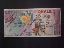 BIGLIETTO LOTTERIA  NAZIONALE ITALIA 1996 FESTIVAL DI SANREMO RARO ! - Loterijbiljetten