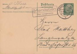 DR Ganzsache Hindenburg Mit Landpoststempel Merxleben über Langensalza 16.8.37 - Deutschland