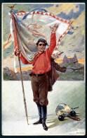 Student Mit Fahne, Kappe Und Degen, Studentika, Pinx F.J. Jedlicka, - Künstlerkarten