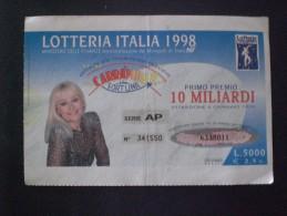 BIGLIETTO LOTTERIA  NAZIONALE ITALIA 1998 - Loterijbiljetten