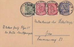 DR Dienst Orts-Ganzsache Minr.DP2 Zfr. Minr.24,28,57 Stuttgart 15.4.23 - Dienstpost