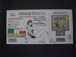 BIGLIETTO LOTTERIA  NAZIONALE ITALIA 2001 MISS ITALIA SALSOMAGGIORE - Biglietti Della Lotteria
