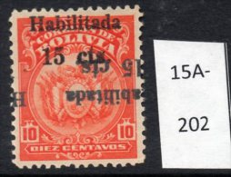 Bolivia 1923 15c/10c ABN Co. Ptg, Surcharge Double, One Inverted M/m (MH) (SG 169 Var) - Bolivia