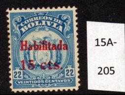 Bolivia 1923 15c/22c Surcharge In RED (SG 168 Footnote) U/m (MNH) - Bolivia