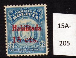 Bolivia 1923 15c/22c Surcharge In RED (SG 168 Footnote) U/m (MNH)