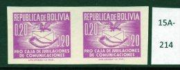 Bolivia C.1951 Condor Bird & Posthorn In Purple, Imperf Pair U/m (MNH)