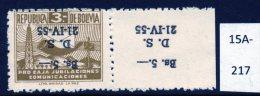 Bolivia 1955 Obligatory Tax 5B/3B Bistre Surcharge Inverted (SG 607a) U/m (MNH)