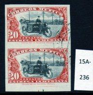 Mexico 1919 Express Postman On Motorbike / Motorcycle IMPERF PAIR, Fine Used. - Motorbikes