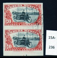 Mexico 1919 Express Postman On Motorbike / Motorcycle IMPERF PAIR, Fine Used.