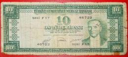 · GREEN-GREEN: TURKEY ★10 LIRA (1951) UNCOMMON! LOW START★NO RESERVE! - Turkey