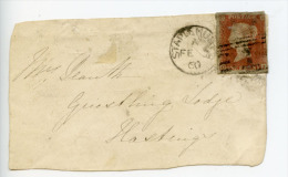 GB 1d Red Imperf On Cover Front Staplehurst To Hastings (E203) - 1840-1901 (Victoria)