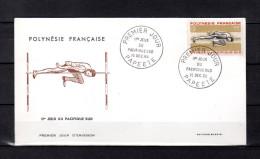 """POLYNESIE FRANCAISE 1966 : Env. 1er Jour """" 2èmes JEUX DU PACIFIQUE-SUD / SAUT EN HAUTEUR """". N° YT 42. Parf. état. FDC"""