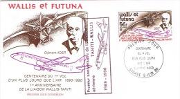 Wallis Et Futuna FFC First Flight Cover Premier Vol Aerien Premier Anniversaire Liaison Tahiti Mata Utu  9/6/90 - Non Classificati