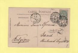 Nice Quartier De La Gare - 7-2-1905 - Destination Belgique Gand - Type Blanc - Marcophilie (Lettres)