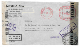 Brazil Censored Cover WWII Double Censor Commercial Via Panair To US Rio Meter - Brazil