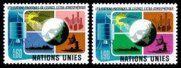 United Nations Geneva, 1975, Peaceful Use Of Outer Space, Michel #46-47, Scott #46-47, MNH, Perforated Set - Ginevra - Ufficio Delle Nazioni Unite
