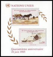 United Nations Geneva, 1985, 40th Anniversary Of The United Nations, Michel #Block 3, Scott #137, MNH, Imperforated S... - Unclassified