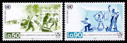 United Nations Geneva, 1987, International Year For Humane Living, Michel #154-155, Scott #154-155, MNH, Perforated Set - Unclassified