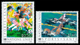United Nations Geneva, 1988, Health And Sports, Soccer, Swimming, Michel #169-170, Scott #169-170, MNH, Perforated Set - Unclassified