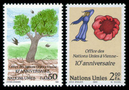 United Nations Geneva, 1989, 10th Anniversary Of The United Nations Vienna Office, Michel #178-179, Scott #178-179, M... - Unclassified