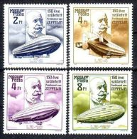 Magyar Posta Hungary 1988 150th Birth Anniv Ferdinard Zeppelin Zeppelins Transport Stamps MNH Sc 3107-10 Michel 3942-45 - Hungary