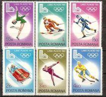 Romania 1979 Winter Olympic Games 1980 Lake Placid Sports Ice Hockey Biathlon Skiing Figure Skating Tamps Sc 2926-2931 - 1948-.... Republics