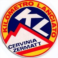 """01927 """"KILOMETRO LANCIATO - KL - CERVINIA ZERMATT - SPEED SKIING"""" ETICHETTA ADESIVA TONDA - Adesivi"""