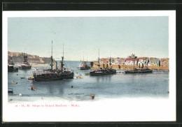 AK Malta, Ships In Grand Harbour - Malte
