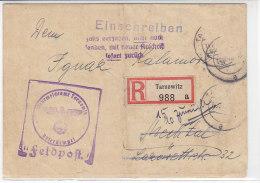 Feldpost R-Brief Aus TARNOWITZ 14.10.42 Mit Zurück - Vermerk - Allemagne